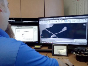 One of our Inside Sales Staff designing an Aggregate Equipment Layout for a customer.